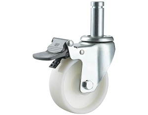 Medium Duty White PP Caster Round Stem with Brake